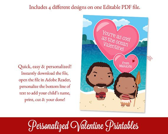 Polynesian Princess Valentines Day Cards por SugarPickleParty