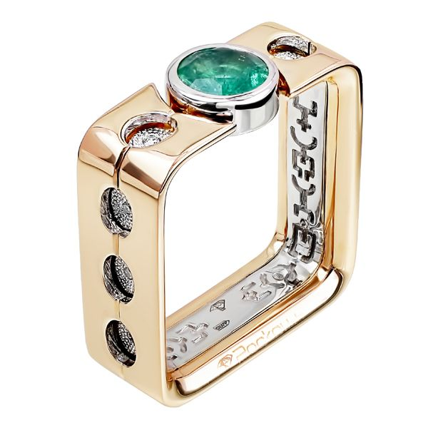 Кольцо квадратное из рыже-белого золота с изумрудом и бриллиантами | ЮБ Роскошь