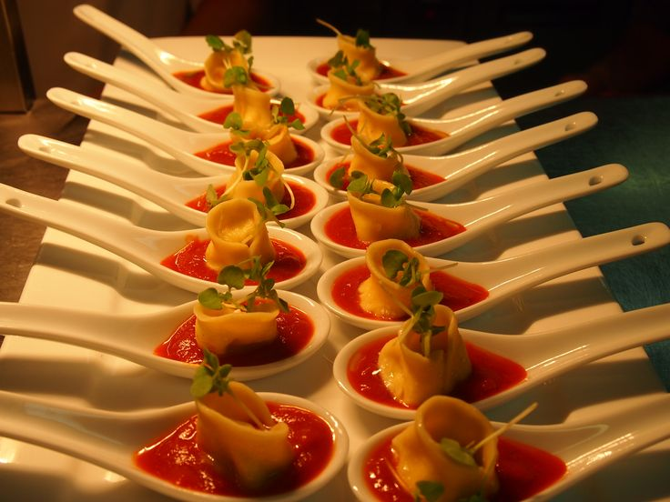 Our Goats Cheese Tortellini Canapes ready to be served to your guests!
