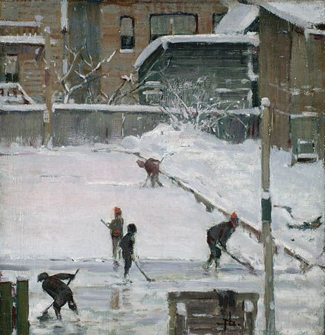 Winter, Clearing the Rink [Ottawa]. (Artist: Franklin Brownell, Credit: Library and Archives Canada, Acc. No. 1995-138-2)
