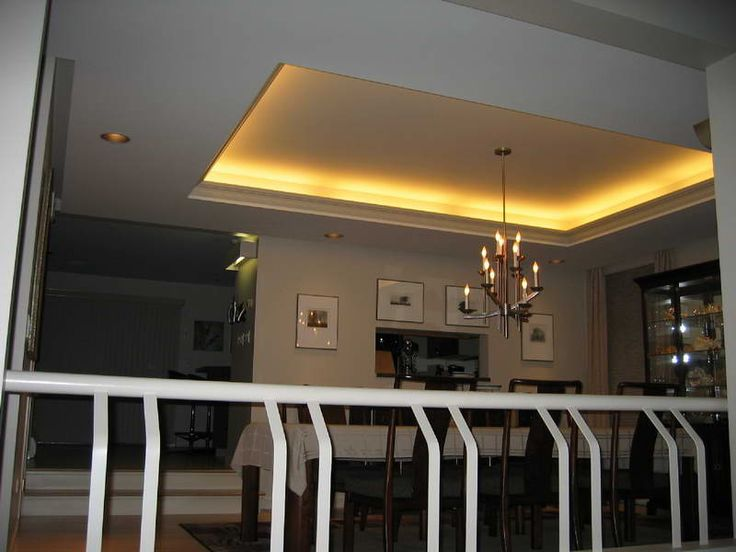 Create the illusion Tray Ceilings In Room : Tray Ceilings With Hanging Lamp