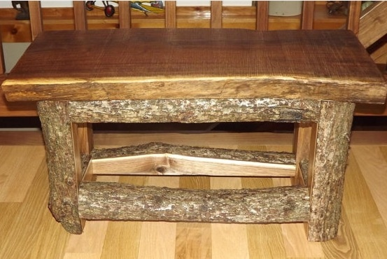 Log Bench Coffee Table With Raw Legs Split Log