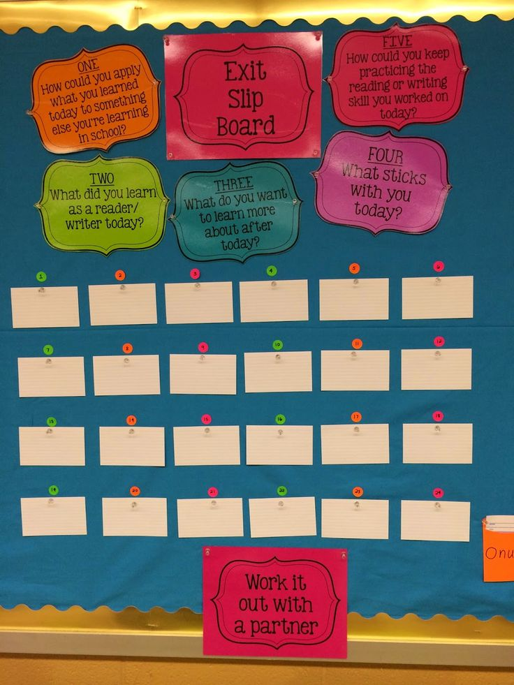 Exit Slip Bulletin Board with five focus questions. Formative assessment at its best. #balancedliteracy