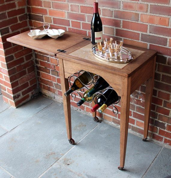 Bar Cart Wine Bar Repurposed From Old Sewing Table