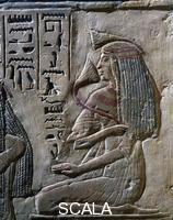 ******** Antico Egitto. Nuovo Regno. ( 1530-1080 A.C. )  Frammento di parete della tomba del Dignitario PTAHMOSE , vissuto sotto il regno di Ramses II° ( 1290-1224 A.C. ) Donna con Fiore di Loto. Mitico fiore che dava l'oblio a chi se ne cibava.