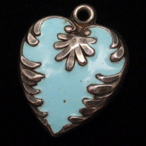 Puffy Heart Charm Vintage Sterling Silver Enamel Engraved JPH | eBay