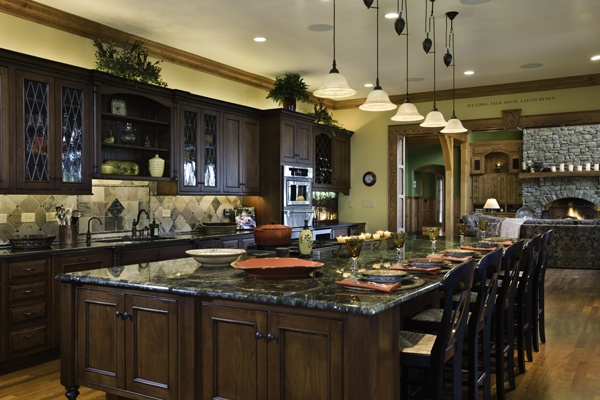 It Took Four Workmen To Heft Each Of The Two Pieces Of Granite That Make Up This Large Kitchen