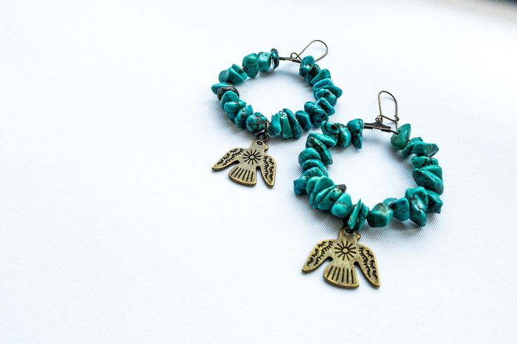 Eagles* - boho style, turquoise earrings with metal charms by cementary on Etsy