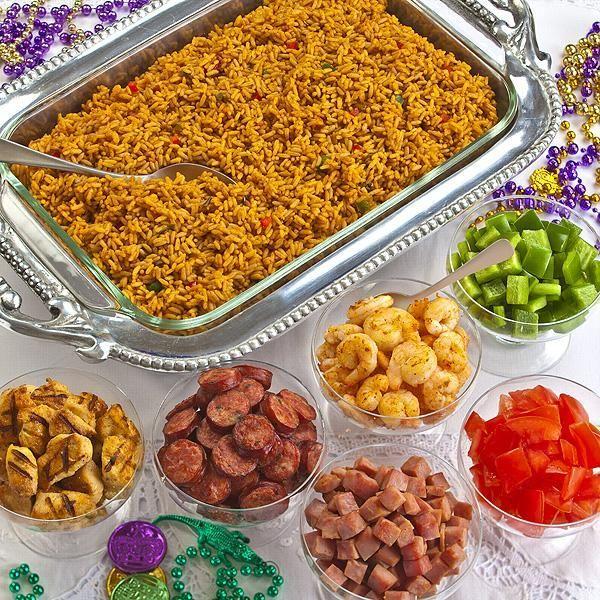 Mardi Gras party food - Olivia Manning's Ultimate Jambalaya Bar