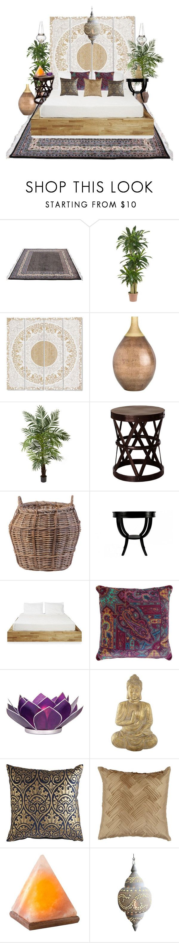 """Bohemian Bedroom"" by migalowa on Polyvore featuring interior, interiors, interior design, home, home decor, interior decorating, Nearly Natural, Arteriors, Flamant and Jayson Home"
