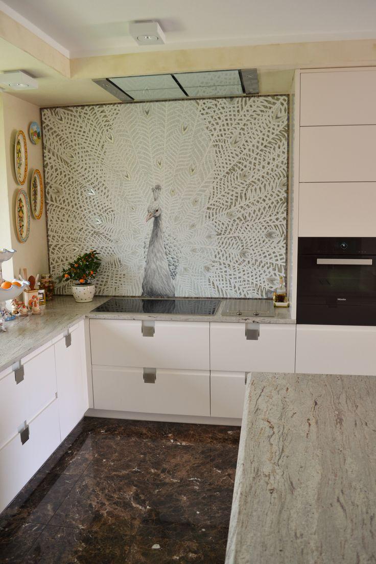 Mosaico Arte e Mestieri, white peacock, glass mosaic. #mosaicpeacock