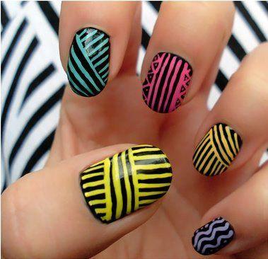 black, blue, dots, nail art