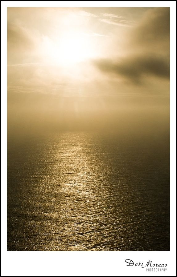 Golden glowing light over the Indian Ocean
