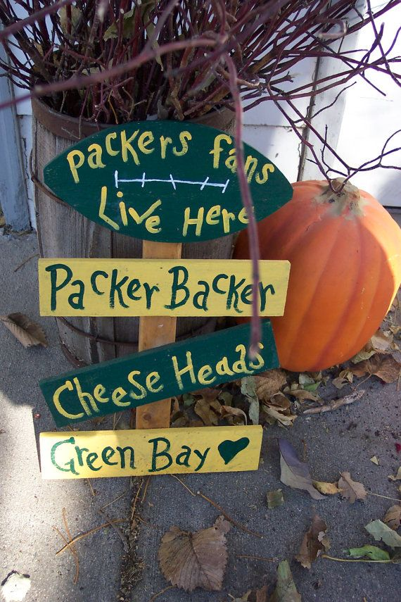 Football Sign Green Bay Packers Fan Lives Here by LuRuUniques, $20.00