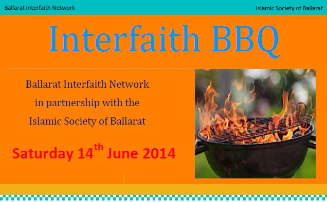 Ballarat Interfaith Network & the Islamic Society of Ballarat are hosting a barbecue on 14 June 2014 which will include a visit to the under-construction Ballarat mosque. Please find out more on the BIN blog, Beside The Creek: http://interfaithinballarat.blogspot.com.au/2014/06/you-are-invited-to-barbecue-and-mosque.html