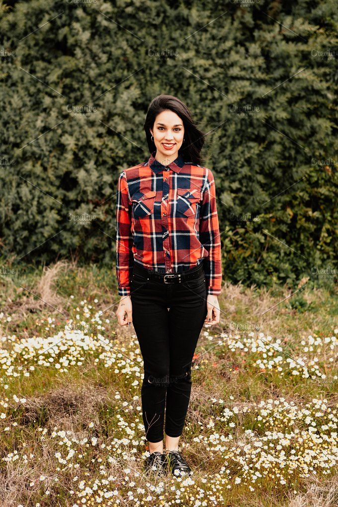 Attractive brunette girl Photos Pretty brunette girl with red plaid shirt in the park by José Manuel Gelpi