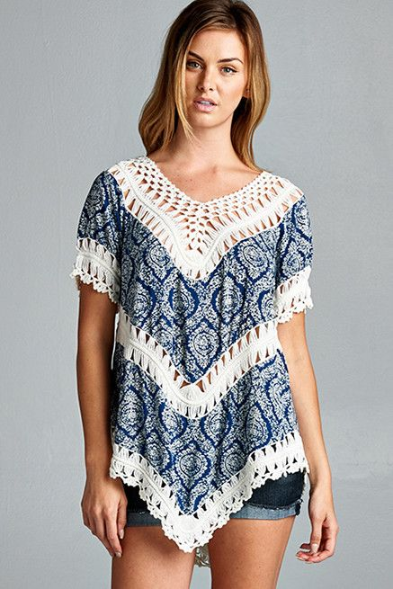 Printed Crochet Top - Navy   Knitted Belle Boutique