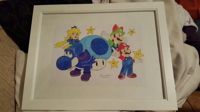 Nintendo drawing super mario