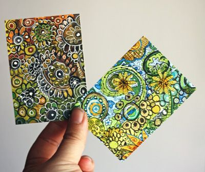 ATC (artist trading card) of painted doodles