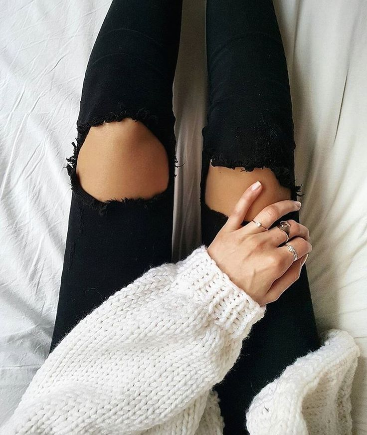 ripped black jeans.