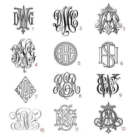 Monogrammi di lettera personalizzata tre di VintageMonogram