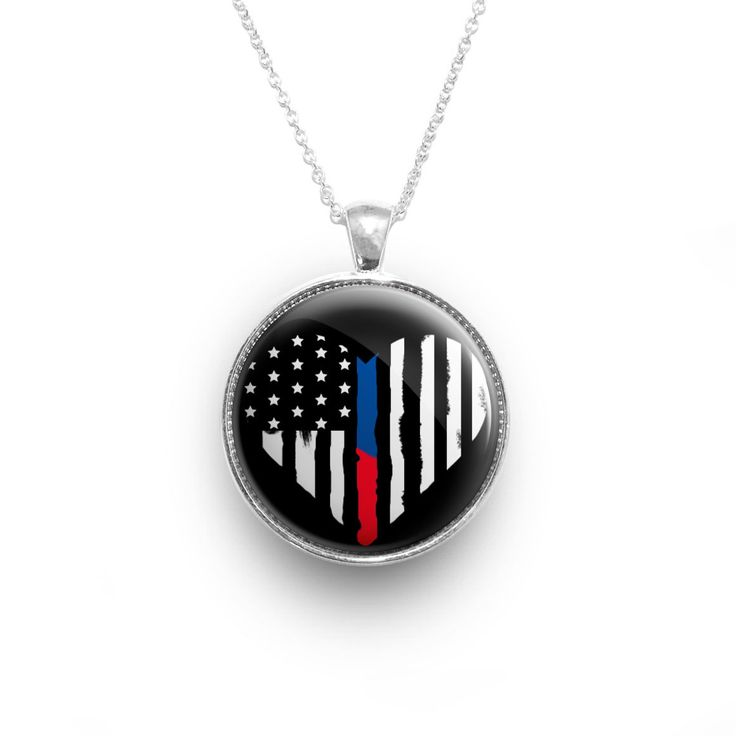 Thin Blue & Red Line ♥ HEART Necklace