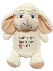 Woolly Lamb with a personal message http://teddybearsandgifts.com.au/personalised-message-bear-woolly-lamb-hug-me-cubby/
