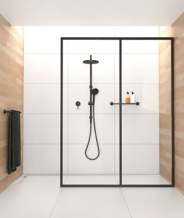Black frame glass wall in shower. SoYouThinkYouCanSee. xH