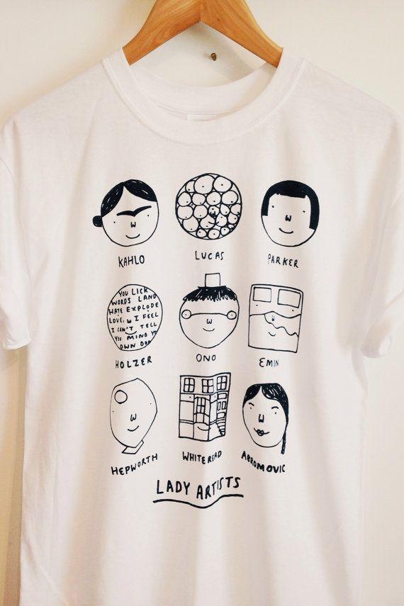 GROß  Künstler Lady t shirt von Alexsickling auf Etsy