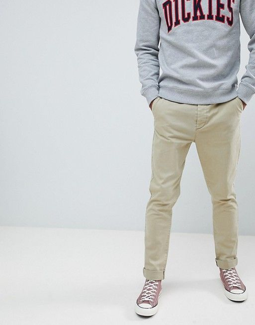 DESIGN tapered chinos in vintage washed stone with turn up – Ace $$$