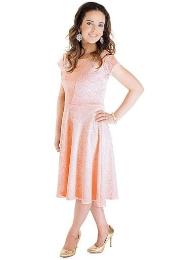 Mariah - Peach - Omika A great modest bridesmaid dress, also perfect for wedding guests, wearing to church, high tea with the girls, shopping...