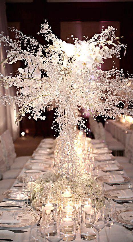 Centrotavola tema inverno o bianco.. Molto luccicante! Wedding Winter White Centerpiece