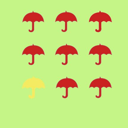 6x6 Square  Greeting Card  Yellow and Red Umbrellas  by Fast4Wards