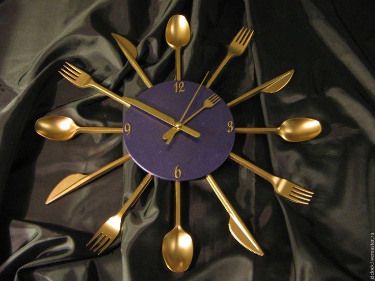 """Купить Настенные часы """"Ложки-вилки"""" - часы, часы на кухню, для кухни, настенные часы, для дома"""
