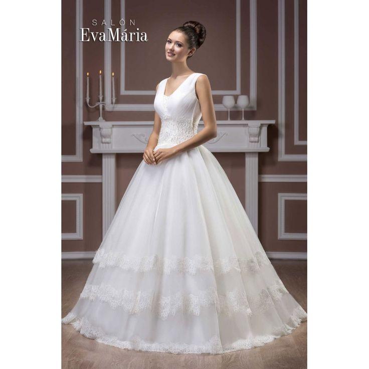 Svadobné šaty so širokou krajkovanou sukňou Elis