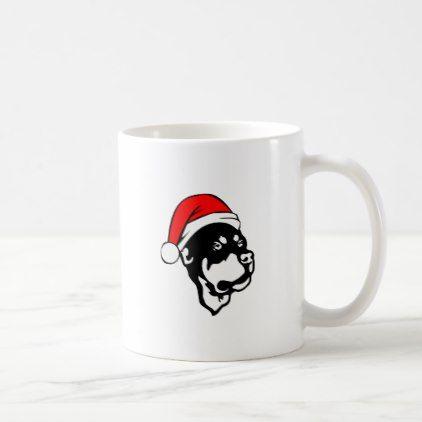 #Rottweiler Dog wearing Red Christmas Santa Hat Coffee Mug - #rottweiler #puppy #rottweilers #dog #dogs #pet #pets #cute