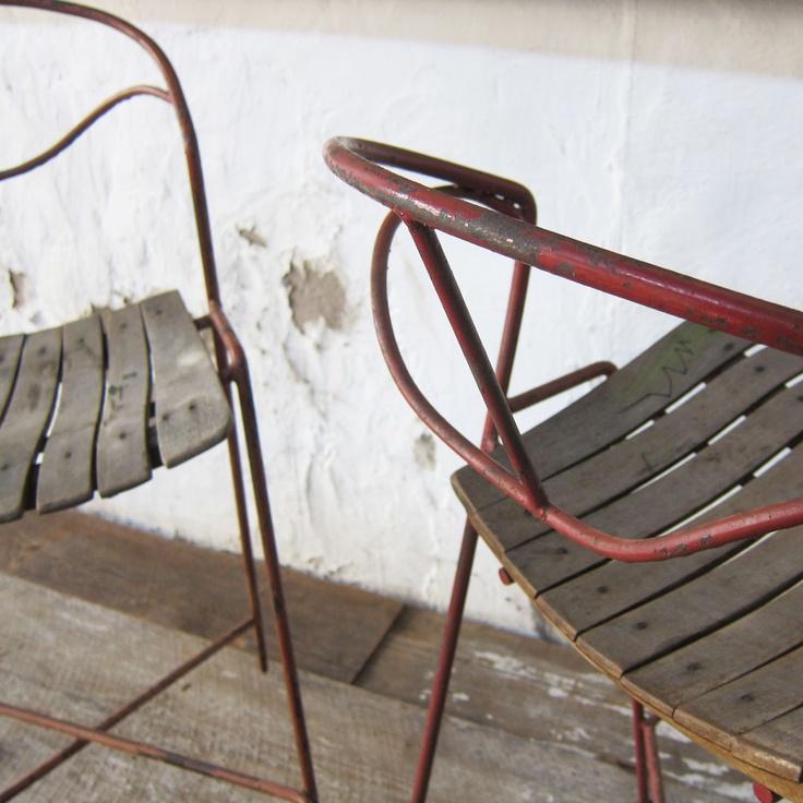 Umanoff Slat Seat Stools in Red $500 00