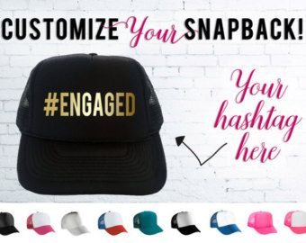 Personalized Hashtag Snapback, Personalized Trucker Hat, Custom Adjustable, Bachelorette Party, Charity, Anniversary, Birthday, Bride Hat
