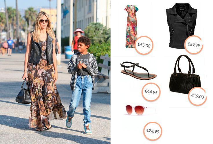 Heidi Klum combineert haar maxidress met een zwart vestje, een zwarte tas, comfortabele slippers en een zonnebril. Wil jij ook een outfit in deze stijl? Kijk dan op http://www.mooinietduur.nl/outfit/de-stijl-van-heidi-klum