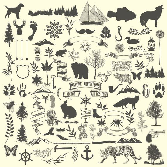 Camping Clipart Animal Clipart Nature Rustic Tree Adventure Hunting Clipart Clip Art Png Vector E Camping Clipart Animal Clipart Clip Art