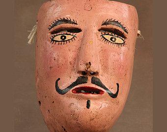 Mexican Danza de la Conquista Mask, c1930's, El Meson Puebla