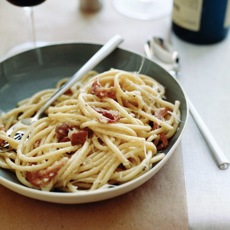 Shelley Lindgren. She'll often make pasta during the day—like this rich, pancetta-studded bucatini that's tossed with plenty of freshly ground black pepper and Pecorino—and then reheat a big bowl of it when she comes home from work late at night.