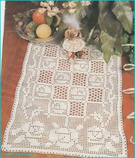 Hobby lavori femminili - ricamo - uncinetto - maglia: centro rose filet uncinetto