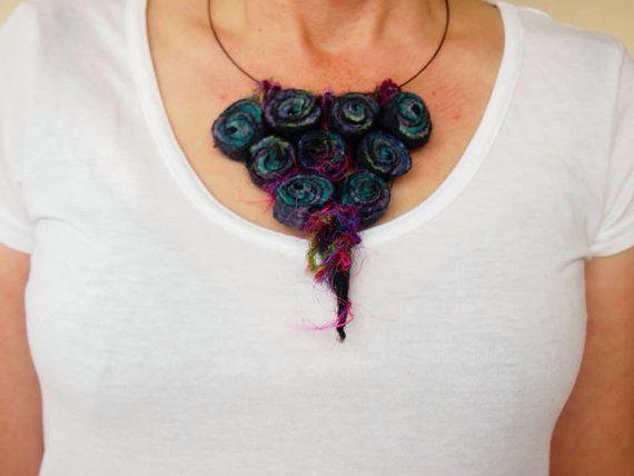Wearable art necklace felt beads by VonFelt on Etsy