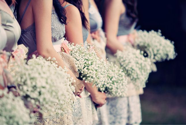 bridesmaid baby's breath bouquets