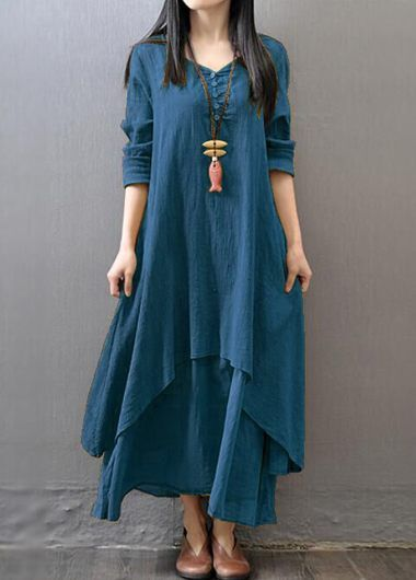 V Neck Button Design Layered Maxi Dress on sale only US$27.79 now, buy cheap V Neck Button Design Layered Maxi Dress at lulugal.com