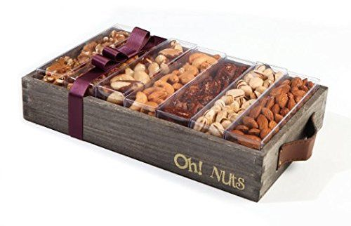 Nuts Gift Basket, Large Fresh Nuts Assortment Holiday Gift Box - Oh! Nuts (Wooden Medium Nut Gift)