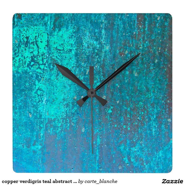 copper verdigris teal abstract modern art design wallclock