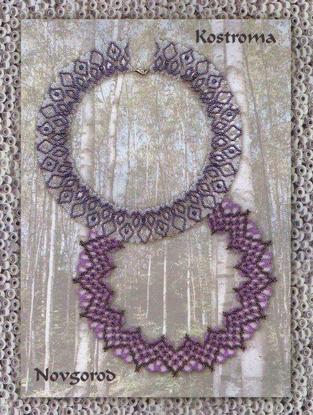 Схемы воротников бисерных