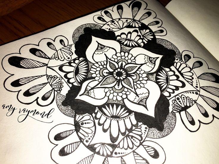 #mandala #sketch  by Amy Raymond 3/4/17.  #pigma #bw #doodle #inkart #mixedmedia #art #artismytherapist #zen #draw  #tangle #copic #micron